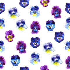 Watercolor illustration of Violet flowers. Seamless pattern. beautiful pansy.