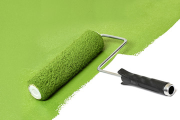 Paint Roller Over White Surface
