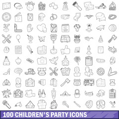 100 children party icons set, outline style