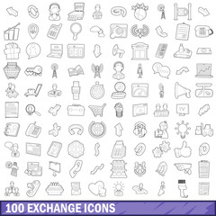 100 exchange icons set, outline style