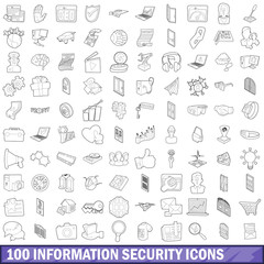 100 information security icons set, outline style