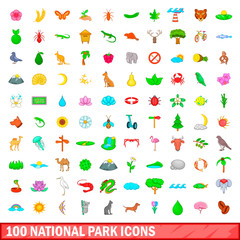 100 national park icons set, cartoon style