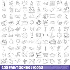 100 paint school icons set, outline style