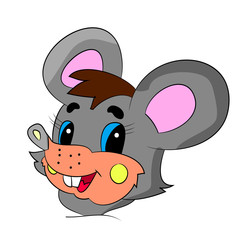 Head of a merry gray mouse cartoon on a white background.Vector