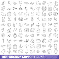 100 program support icons set, outline style