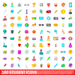 100 student icons set, cartoon style