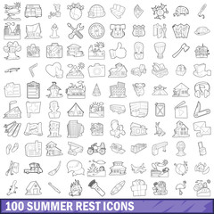 100 summer rest icons set, outline style