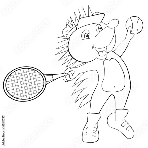 Coloring Book Hedgehog Plays Tennis Cartoon Style Clip Art For
