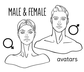 Hand drawn, lined male and female portrait. Isolated vector image.