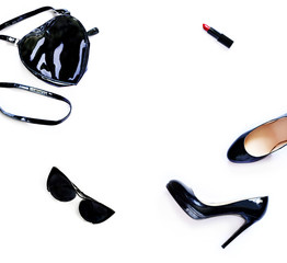 Collage of personal accessories isolated on white