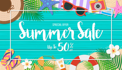 Summer sale background. Season vacation, weekend. Vector Illustration.