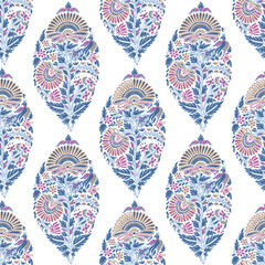 Floral ornament in Indian style on a white background. Seamless pattern.
