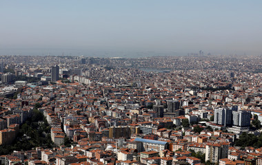 A general view of the city is seen from a rooftop in Istanbul