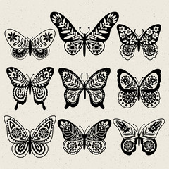 Set of illustrations illustration with butterflies. Black and white. Freehand drawing