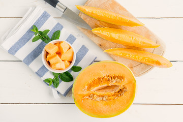 cantaloupe melon on the wooden table