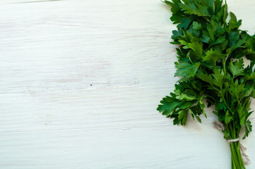 Bunch of fresh parsley on white boards.