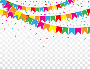 Web Banner with Garland of Colour Flags and Confetti on Transparent Background. Vector Illustration. Flat Style.