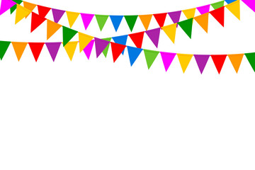 Holiday Background with Colorful Party Flags on White Background. Vector Illustration. Flat Design.