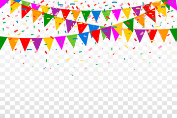 Celebration Web Banner with Colorful Party Flags and confetti  on Transparent Background. Illustration. Flat Design. EPS 10.