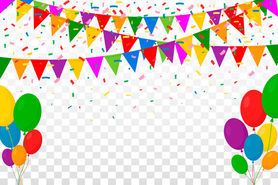 Web Banner with Garland of Colour Flags, Confetti and Balloons on Transparent Background. Space for Your Text. Vector Illustration. Flat Design. EPS 10.
