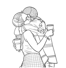 Illustration of young couple hugging and holding plastic beer cups