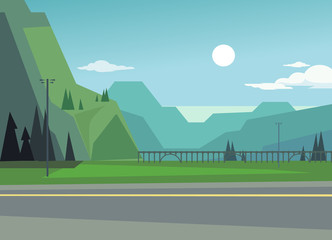 Foto op Aluminium Grijs Green landscape with hills and trees. Asphalt among nature. Vector flat cartoon illustration