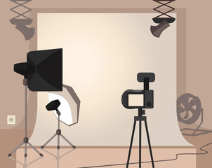 Photography studio with special equipment. Vector flat cartoon illustration