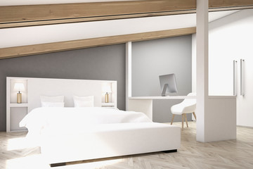 Gray attic bedroom, home office, side