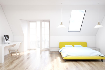 White attic bedroom, wooden floor, yellow