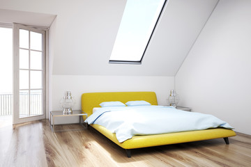 White attic bedroom, wooden floor, closeup