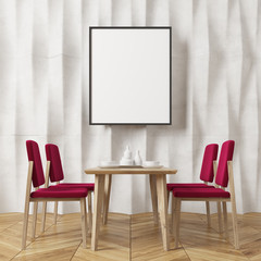 White textured wall dining room, red chairs