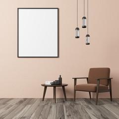 Beige wall living room, brown armchair