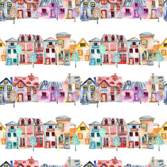 Seamless pattern with cute cartoon watercolor english houses in a row and trees, hand painted  on a white background