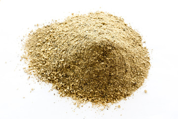 Brown pile powder isolated on white