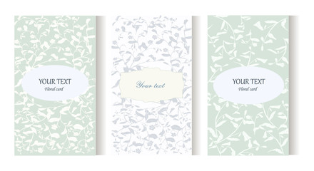 Hand drawn wild flower wedding invitation card set. Invitation card template with floral background.