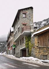 Main street in Ordino. Andorra