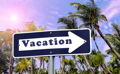 Vacation arrow sign on palm tree background.