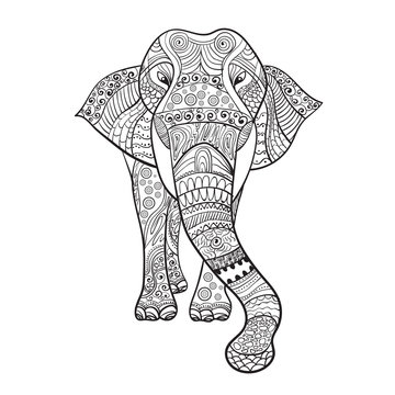 Elephant Zentangle Animal For Coloring Book Vector