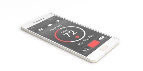 Heart rate monitoring on a smartphone screen on white background. 3d illustration