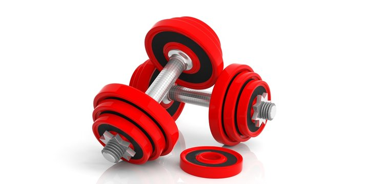 Dumbbells on white background. 3d illustration