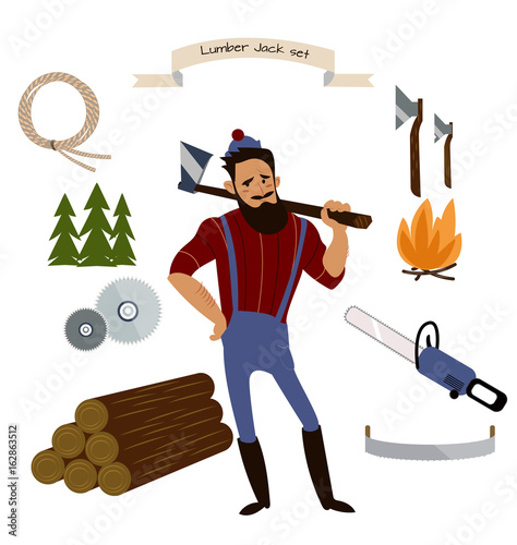 Lumberjack Timber And Woodworking Tools Vector Icons Isolated On