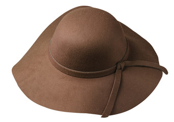 Women's hat felt isolated on white background .fashion hat fel . brown hat