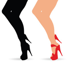 woman legs in atractive shoes set illustration