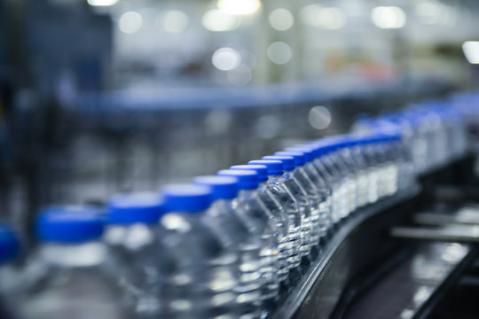 Water bottles in production line
