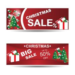 Christmas banners set big sale with christmas tree,bokeh and Santa's boot,snowflake vector illustration.