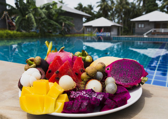 Bright Thai fruits on a beautiful background