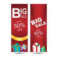Christmas banners set big sale with text and gift box,Santa's boot,vector illustration.
