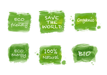 Ecology logo, sign and icon set of green brush paint watercolor