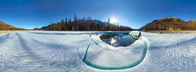Cylindrical panorama of a man on ice melting river
