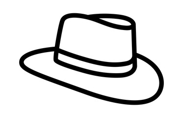 Cowboy hat or country stetson hat line art icon for apps and websites